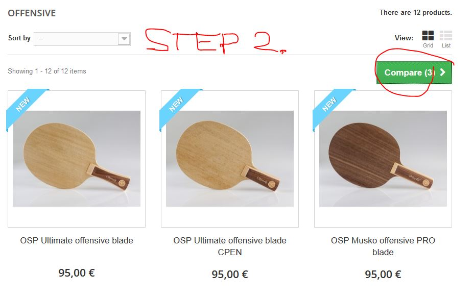Compare table tennis blades step 2