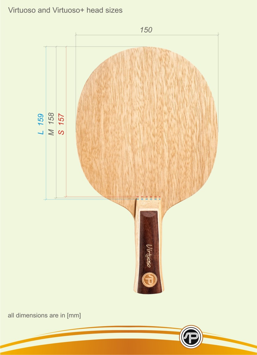 Table Tennis Blades Head Sizes on ping pong racket