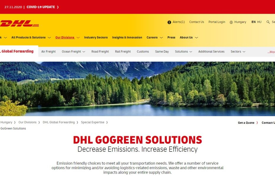 Switched to sustainable carrier DHL Gogreen